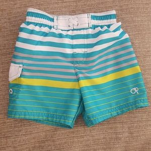 OP - Turquoise and White Striped Infant Swim Trunk